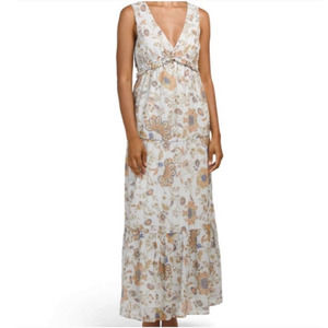 Rachel Zoe Blue Floral Ruffled Tiered Maxi Dress S